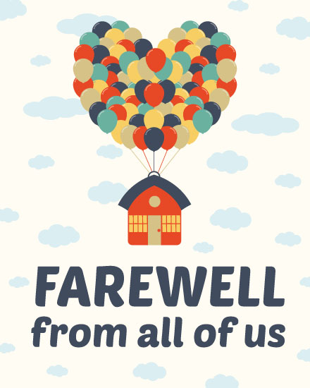 farewell card house carried away by balloons