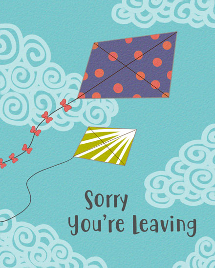 farewell card kites swirly clouds
