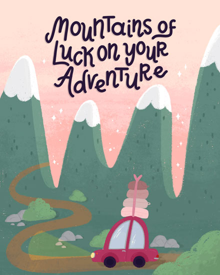 farewell card mountains of luck on your adventure