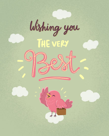 farewell card pink bird with suitcase