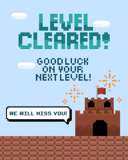 farewell card level cleared good luck on your next level