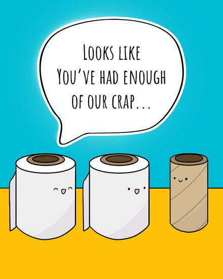 farewell card toilet paper rolls
