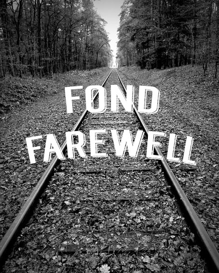 farewell card train tracks black and white