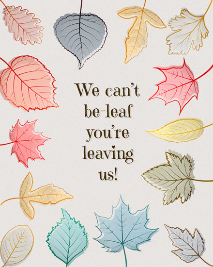 farewell card variety of leaves