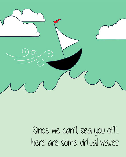 farewell card virtual waves to sea you off