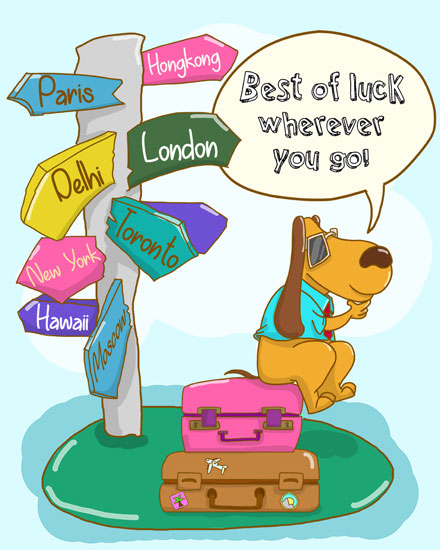 farewell card wanderlust dog suitcases