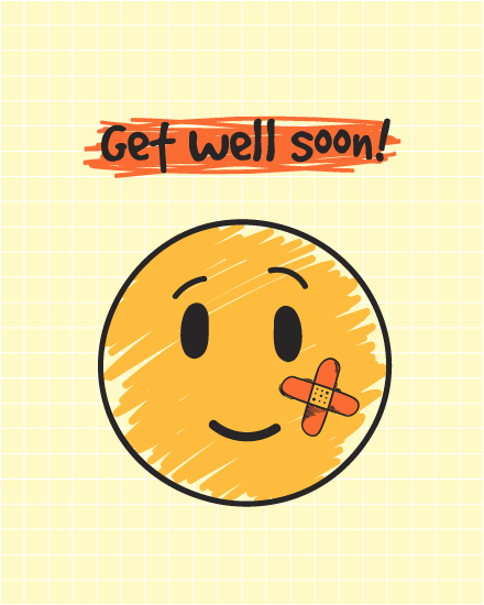 get well soon card bandaid smiley
