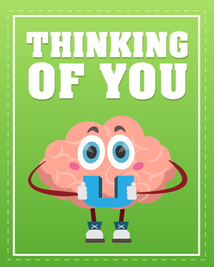 get well soon card brain thinking of you