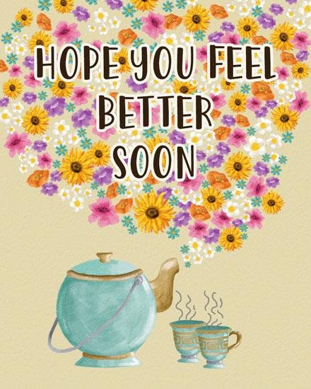 get well soon card floral tea set