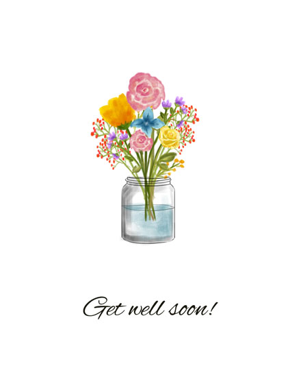 get well soon card flowers in vase