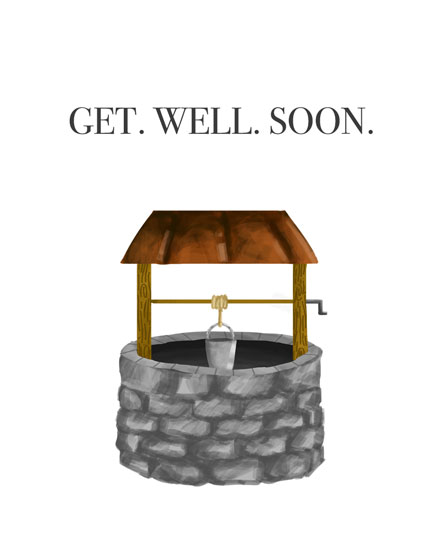 get well soon card water well