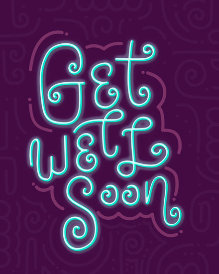 get well soon card neon sign