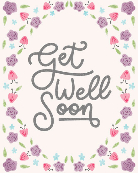 get well soon card pastel floral frame