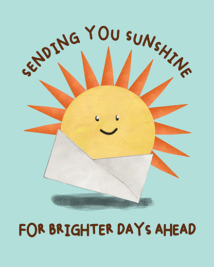 get well soon card sending you sunshine for a brighter day ahead