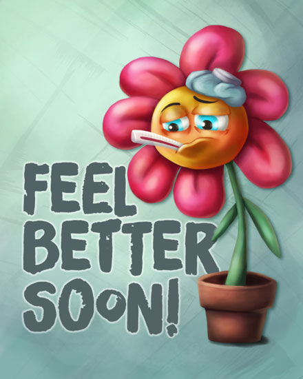 get well soon card sick potted flower