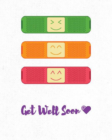 get well soon card three bandaids