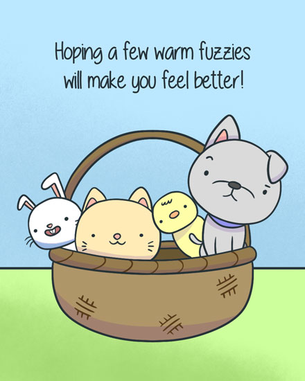 get well soon card warm fuzzies in basket