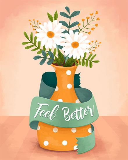 get well soon card feel better flower vase