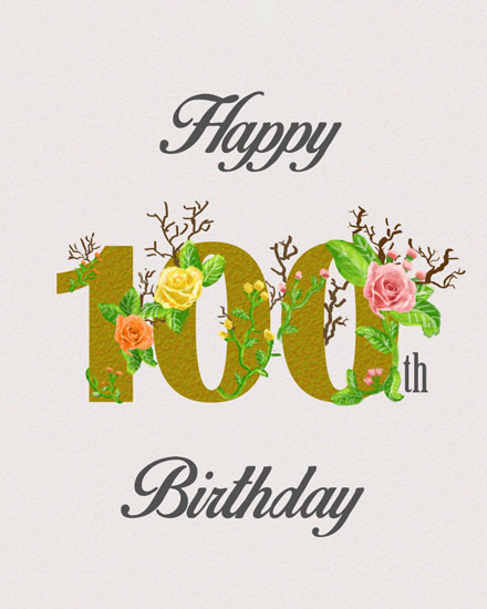 birthday card 100th gold lettering