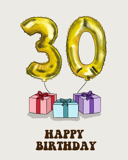 happy birthday card 30 gold balloon