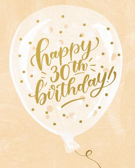 birthday card happy 30th birthday on balloon