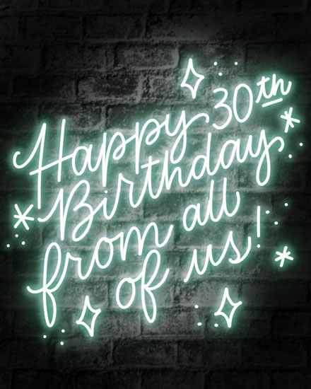 happy birthday card 30th neon sign