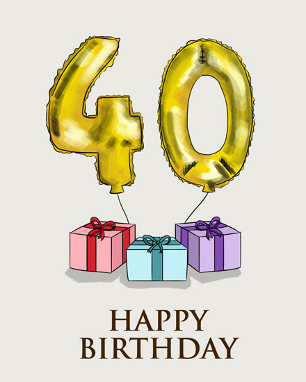 happy birthday card 40 gold balloon