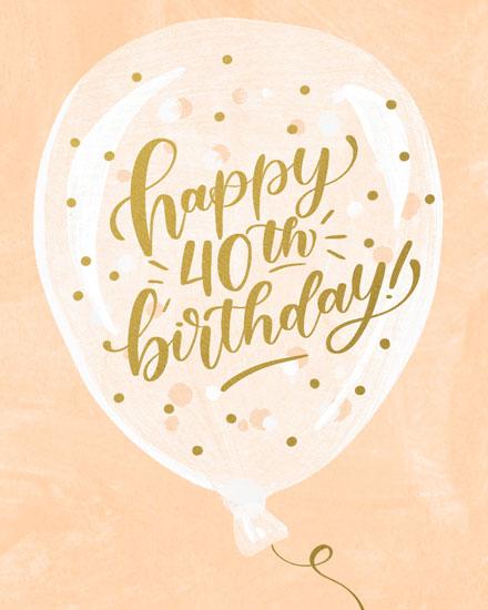 birthday card happy 40th birthday on balloon