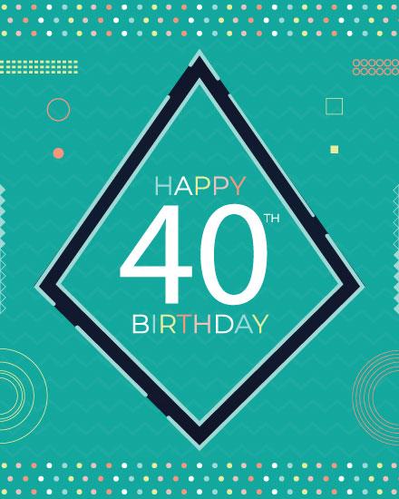 happy birthday card modern 40th birthday
