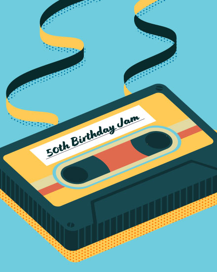 happy birthday card 50 cassette tape