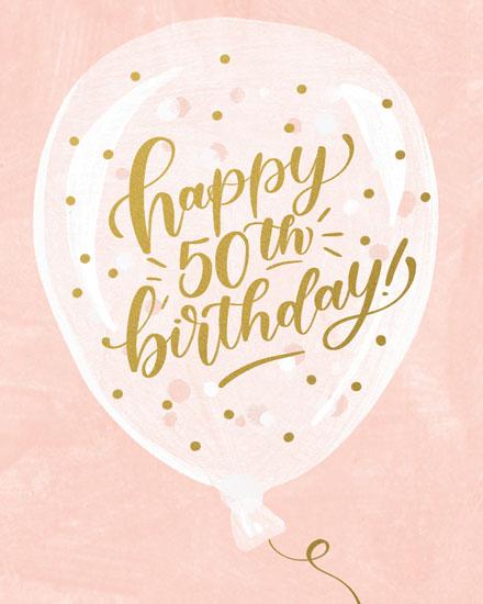 birthday card happy 50th birthday on balloon