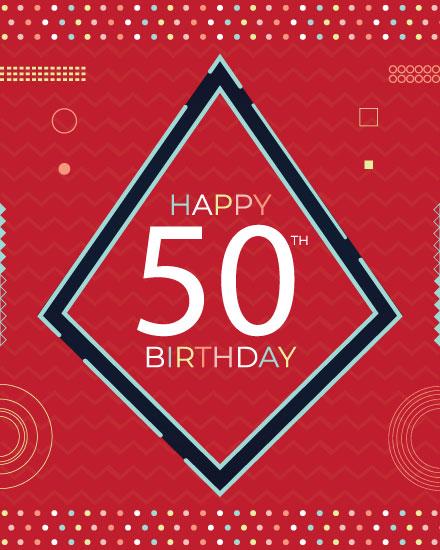 happy birthday card modern 50th birthday