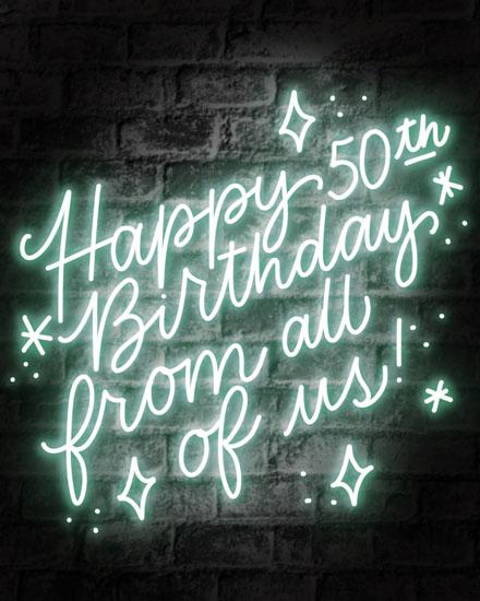 happy birthday card 50th birthday neon sign