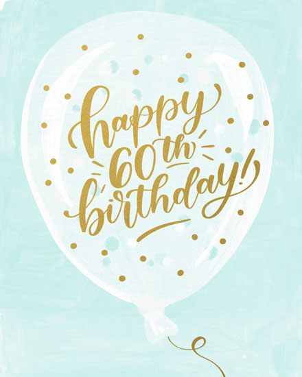 birthday card happy 60th birthday on balloon