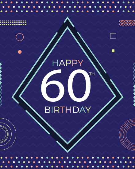 happy birthday card modern 60th birthday