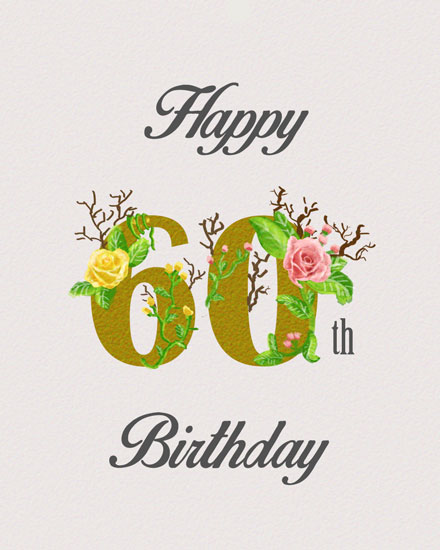 happy birthday card 60th gold lettering