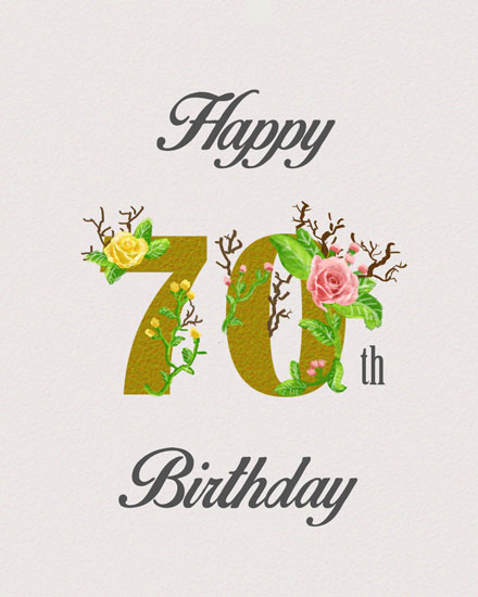 happy birthday card 70th gold lettering