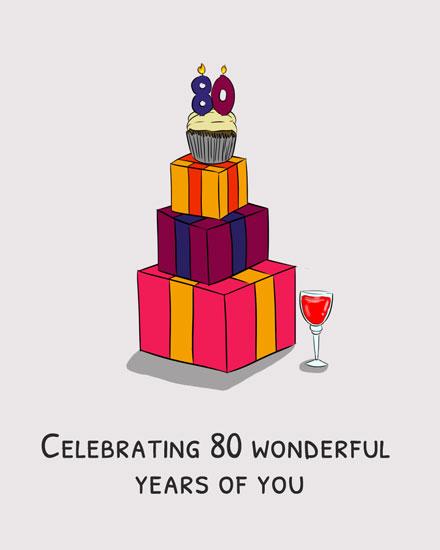 birthday card celebrating 80 wonderful years