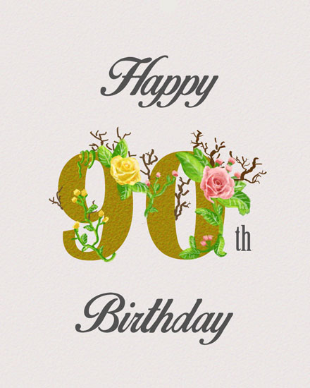 birthday card 90th gold lettering