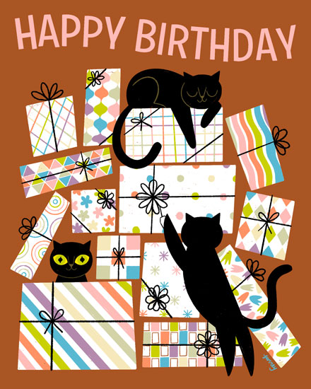 happy birthday card black cats presents