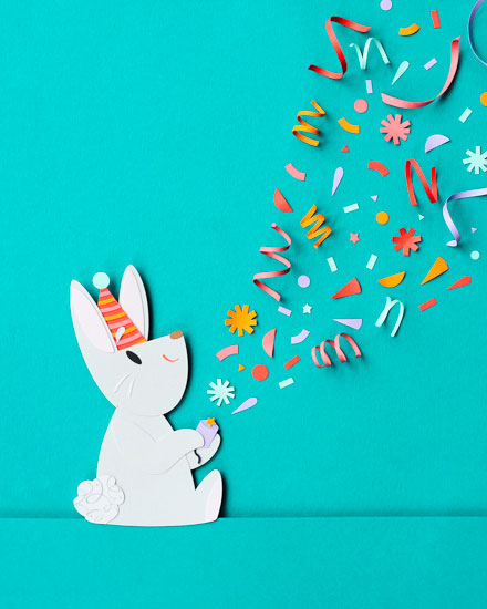 happy birthday card bunny confetti bon bon