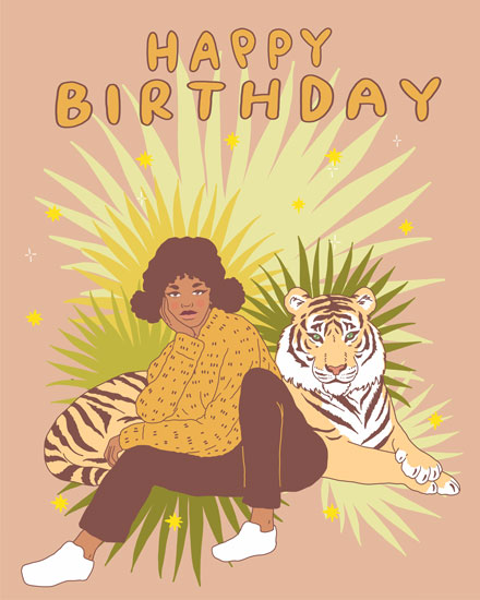 happy birthday card tiger girl
