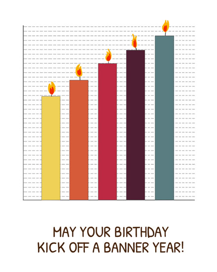 happy birthday card banner year graphs