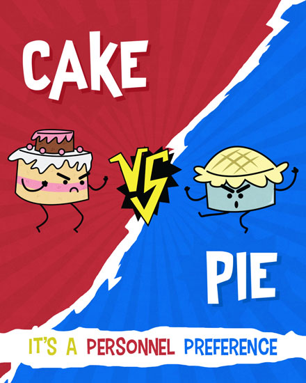 happy birthday card cake vs pie personnel preference