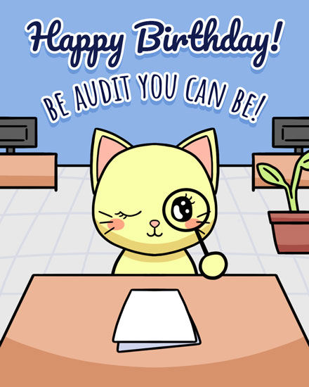 happy birthday card cat with magnifying glass