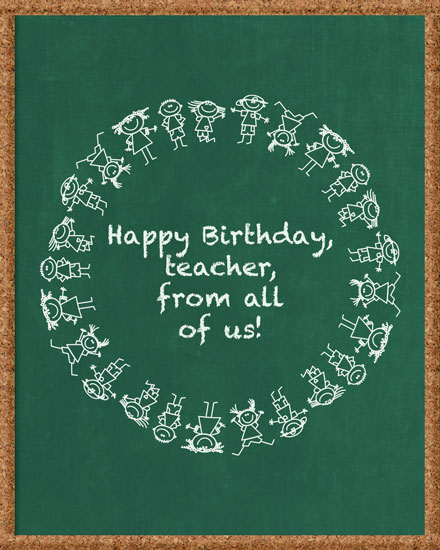 happy birthday card kids on chalkboard
