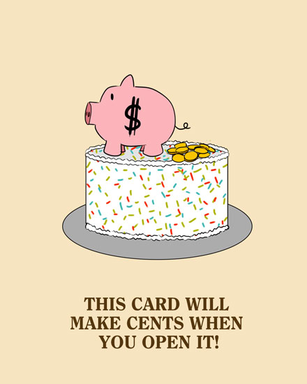 happy birthday card piggy bank coins