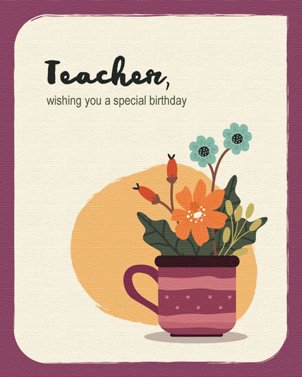happy birthday card plant for teacher