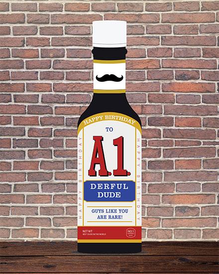 birthday card to a1-der-ful guy steak sauce bottle