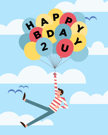 happy birthday card balloons carrying man